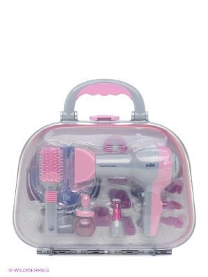 Набор парикмахера в чемодане Braun KLEIN. Цвет: розовый