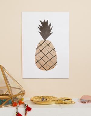 OHH DEER Художественная репродукция на стену формата A4 с ананасом. Цвет: мульти