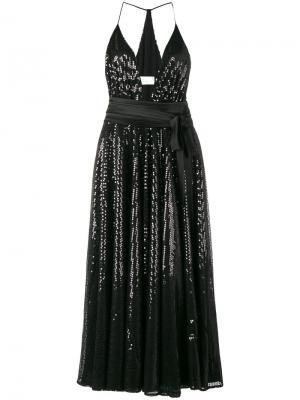 Платье в пайетках с глубоким вырезом Racil. Цвет: чёрный