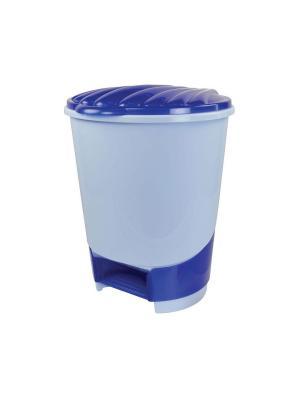 Ведро для мусора с педалью 10л. Альтернатива. Цвет: голубой, синий