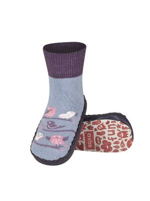 Тапочки-носочки Soxo. Цвет: темно-фиолетовый, фиолетовый