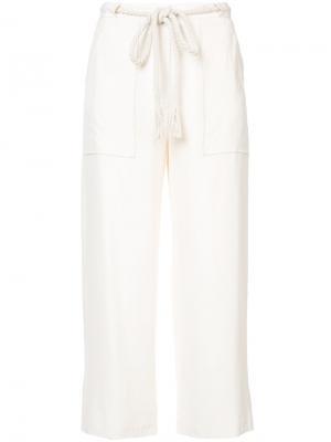 Укороченные брюки Jenni Kayne. Цвет: белый
