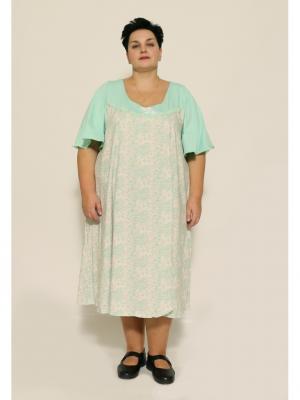 Ночная сорочка EVGENIA STYLE. Цвет: светло-зеленый,светло-бежевый
