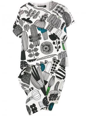 Свободное многослойное платье с принтом Junya Watanabe Comme Des Garçons. Цвет: белый