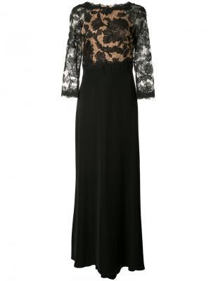 Вечернее платье с кружевной панелью Tadashi Shoji. Цвет: чёрный