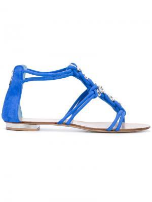 Crystal embellished sandals Le Silla. Цвет: синий