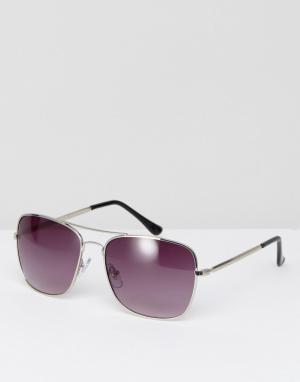 Jeepers Peepers Квадратные солнцезащитные очки. Цвет: серебряный