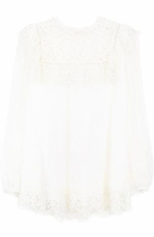 Шелковая кружевная блуза свободного кроя Zimmermann. Цвет: белый