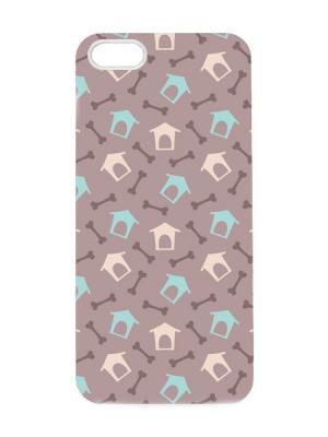 Чехол для iPhone 5/5s Будки и косточки Арт. IP5-030 Chocopony. Цвет: темно-бежевый, голубой