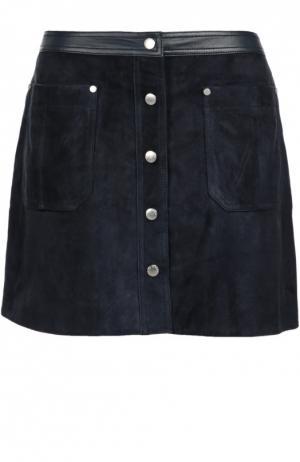 Замшевая мини-юбка с кожаной отделкой и накладными карманами Rag&Bone. Цвет: темно-синий