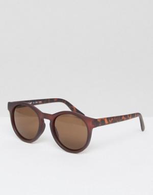 AJ Morgan Коричневые солнцезащитные очки в круглой оправе. Цвет: коричневый