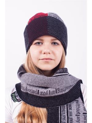 Шапка; шарф MARIELA. Цвет: темно-серый