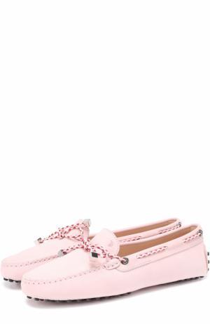Замшевые мокасины Heaven с бантом Tod's. Цвет: розовый