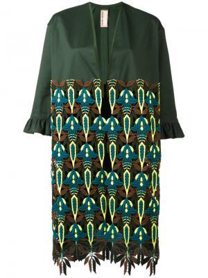 Пальто миди с принтом листьев Antonio Marras. Цвет: зелёный