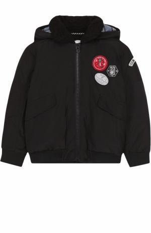 Куртка с капюшоном и нашивками Marc Jacobs. Цвет: черный