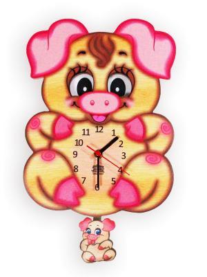 Часы ходики с маятником и подвижными глазками Хрюшка Розочка Ларец Чудес. Цвет: светло-коричневый, розовый