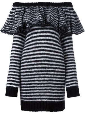 Платье в полоску с открытыми плечами Philosophy Di Lorenzo Serafini. Цвет: чёрный