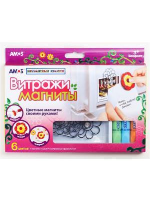 Витражи  магниты , 4 магнита, 6 цветов по 10.5 мл AMOS. Цвет: розовый