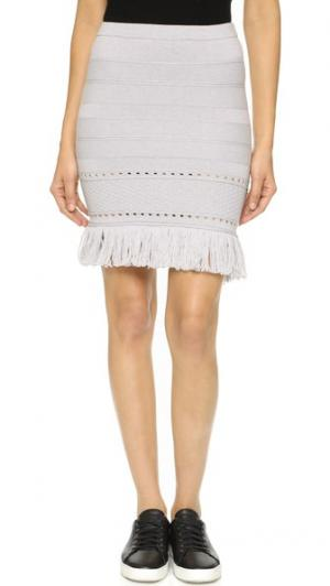 Трикотажная юбка/туника с бахромой Timo Weiland. Цвет: серый меланж