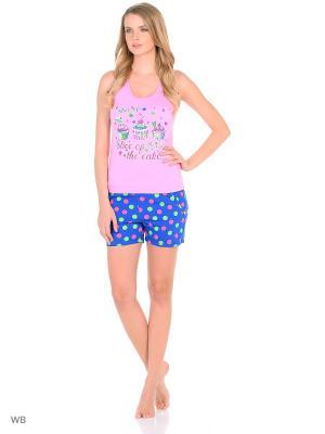 Комплект-майка, шорты NAGOTEX. Цвет: розовый, синий