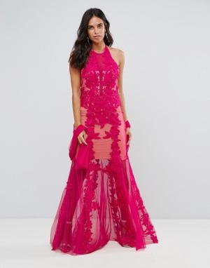 Forever Unique Кружевное платье макси с завязкой на шее. Цвет: розовый