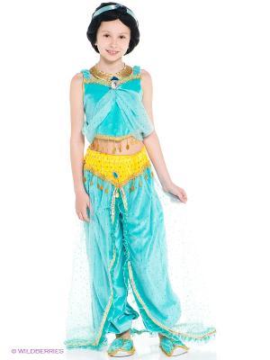 Карнавальный костюм Принцесса Жасмин Батик. Цвет: голубой, желтый