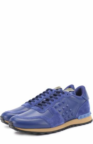 Кожаные кроссовки  Garavani Rockrunner с замшевой отделкой Valentino. Цвет: синий