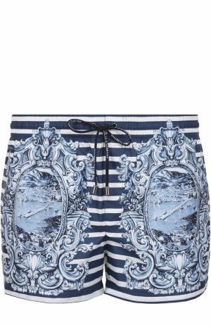 Плавки-шорты в контрастную полоску с принтом Dolce & Gabbana. Цвет: голубой