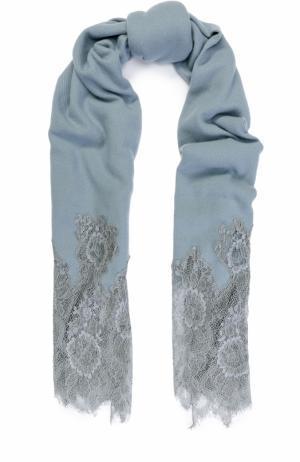 Кашемировая шаль с кружевной отделкой Valentino. Цвет: светло-голубой
