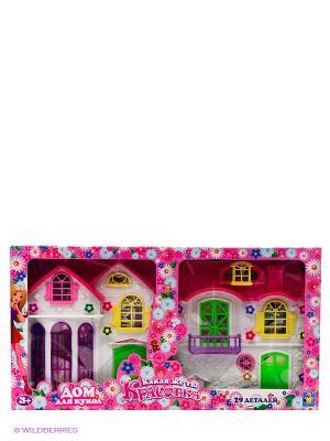Дом для кукол с мебелью 2 секции,28 деталей 1toy Красотка. Цвет: прозрачный