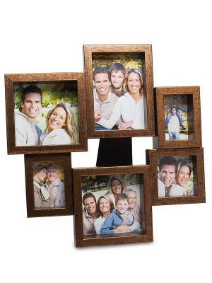 Фоторамка-панно Семейный винтаж на 6 фото Bellezza casa. Цвет: коричневый