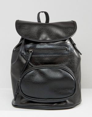 7X Черный рюкзак на шнурке с овальным карманом спереди. Цвет: черный