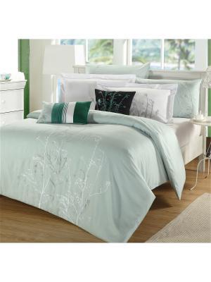 Комплект постельного белья Delux Евро Olive Mona Liza. Цвет: белый, светло-зеленый