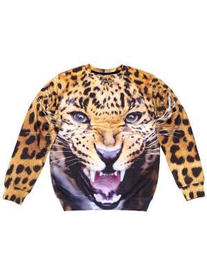 Свитшот Angry Jaguar FUSION. Цвет: черный, рыжий, светло-оранжевый