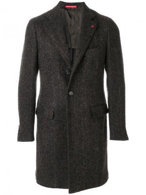 Однобортное пальто Isaia. Цвет: коричневый