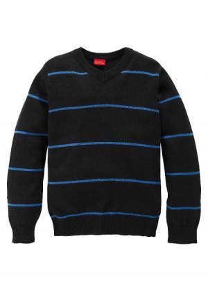 Пуловер Colors for Life. Цвет: черный/синий в полоску
