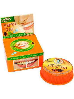 Травяная отбеливающая зубная паста с экстрактом Папайи 5 STAR COSMETIC. Цвет: оранжевый