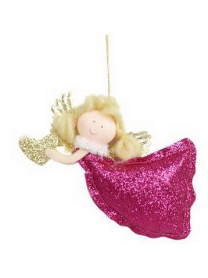 Мягкий сувенир 12см, полиэстер, Фея-зима, ассортимент СНОУБУМ. Цвет: розовый