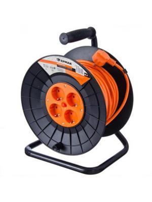 Удлинитель силовой на катушке с зазем, 4 гнезда, евро, 3х1,0 мм2, 25м Ермак. Цвет: оранжевый