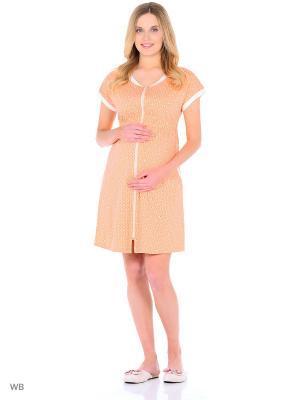 Халат  для беременных и кормящих Hunny Mammy. Цвет: черный, молочный, оранжевый