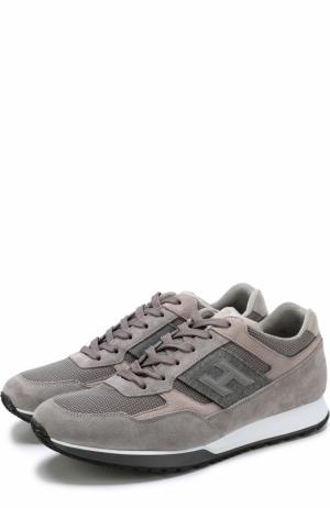 Замшевые кроссовки на шнуровке с текстильными вставками Hogan. Цвет: серый