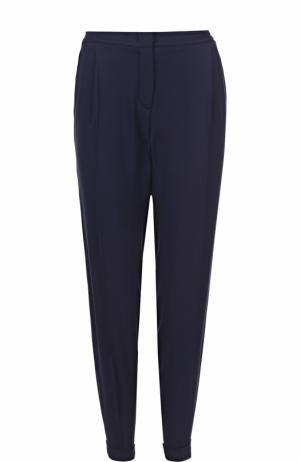 Шелковые брюки прямого кроя с защипами и эластичным поясом Loro Piana. Цвет: синий