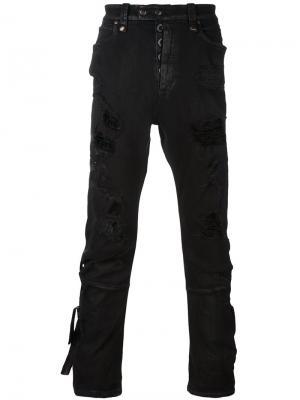 Узкие рваные джинсы Unravel Project. Цвет: чёрный
