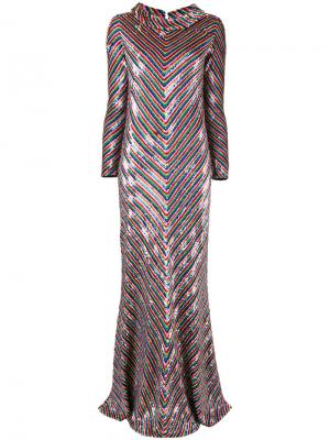 Платье с шевронным узором пайетками Ashish. Цвет: многоцветный