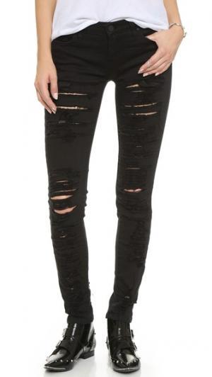 «Рваные» джинсы скинни от Blank Denim. Цвет: голубой