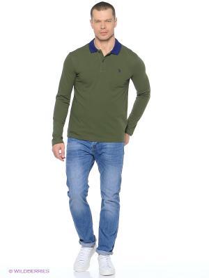Лонгслив U.S. Polo Assn.. Цвет: темно-зеленый