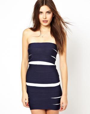 Облегающее платье без бретелей Costa Blanca. Цвет: темно-синий