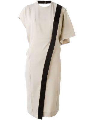 Платье с диагональной полосой Mame. Цвет: телесный