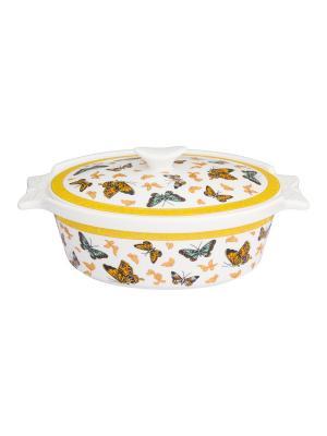 Блюдо для запекания Бабочки Elan Gallery. Цвет: золотистый, белый, желтый