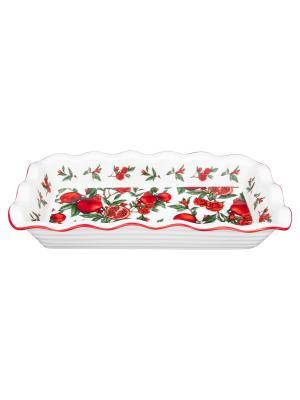 Блюдо для заливного Гранаты Elan Gallery. Цвет: красный, белый, зеленый
